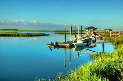 Print featuring the photograph Murrells Inlet Dock by Ed Roberts
