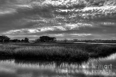 Photograph - Murrells Inlet Morning 3 Bw by Mel Steinhauer