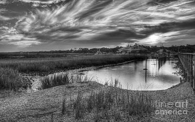Photograph - Murrells Inlet Sunset 4 Bw by Mel Steinhauer