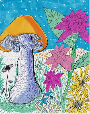 Drawing - Murshroom Flowers And Fields by Rosalina Bojadschijew