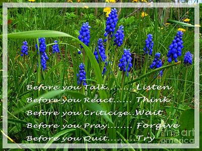 Muscari And Poem Print by Barbara Griffin