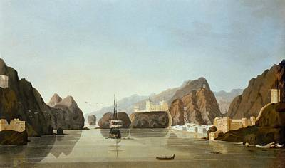 Coastal Landscape Drawing - Muscat From The Harbour With A British by English School