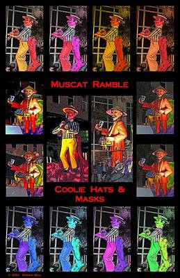 Striper Digital Art - Muscat Ramble And Coolie Hats And Masks by Marian Bell