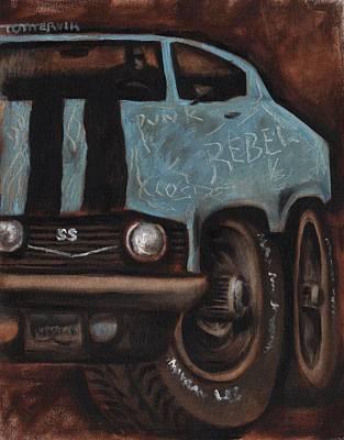 Muscle Car Painting - Muscle Car Rebel Art Print by Tommervik