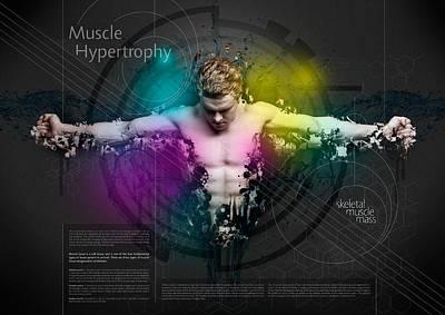Fitness Model Digital Art - Muscle Hypertrophy by Samuel Whitton