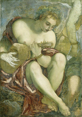 Muse With Lute, Jacopo Tintoretto Art Print by Litz Collection