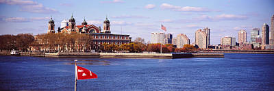 Ellis Island Photograph - Museum And Skyscrapers Viewed by Panoramic Images