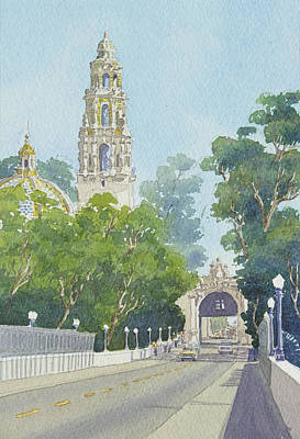 Bell Tower Painting - Museum Of Man Balboa Park by Mary Helmreich