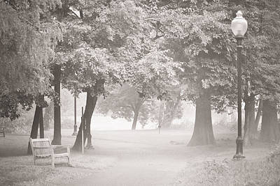 Park Benches Mixed Media - Museum Park Fog by Trish Tritz