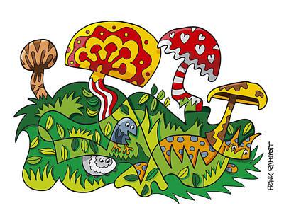 Mushroom Fantasy Doodle Art Print