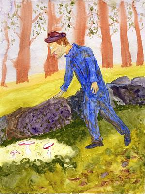 Painting - Mushroom Hunting Man by Jim Taylor