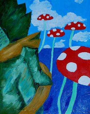 Videogames Painting - Mushroom Land by Yueping Song