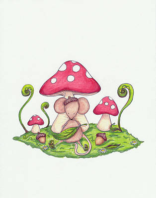 Mouse Drawing - Mushroom Mouse by Sarah LoCascio