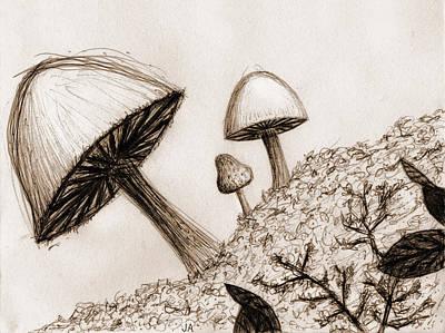 Mushrooms In Sepia Art Print by Jennifer Atherton
