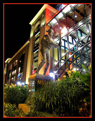 Musial Statue At Night Art Print by John Freidenberg