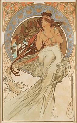 Mucha Drawing - Music by Alphonse Mucha