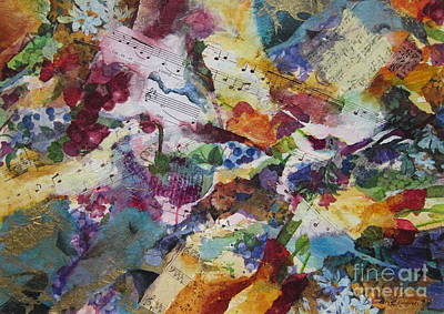 Abstract Collage Painting - Music And Lyrics by Deborah Ronglien