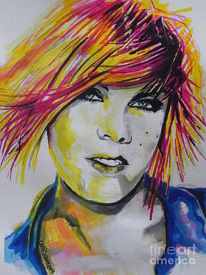 Music Paintings - Music Artist..Pink by Chrisann Ellis