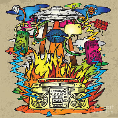 Aliens Wall Art - Digital Art - Music Background. Stylish Grunge by Igorijart