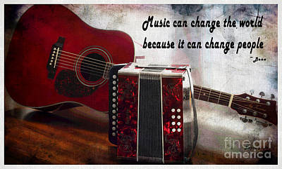 Listening Digital Art - Music Can Change The World - Guitar - Accordion by Barbara Griffin
