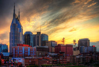 Nashville Skyline Photograph - Music City Susnet by Malcolm MacGregor