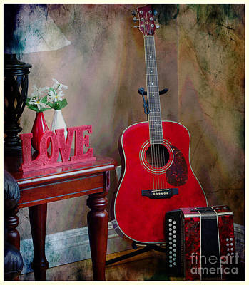 Music Corner - Guitar -  Accordion Art Print by Barbara Griffin