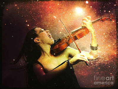 Music Explodes In The Night Art Print by Linda Lees