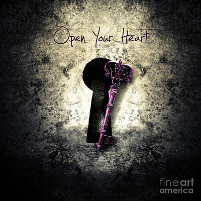 Purple Digital Art - Music Gives Back - Open Your Heart by Caio Caldas