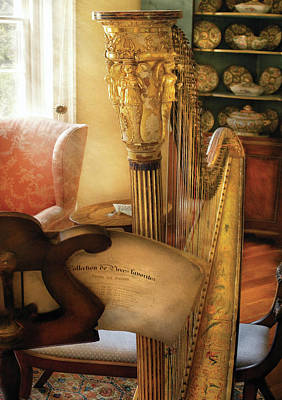Music - Harp - The Harp Print by Mike Savad