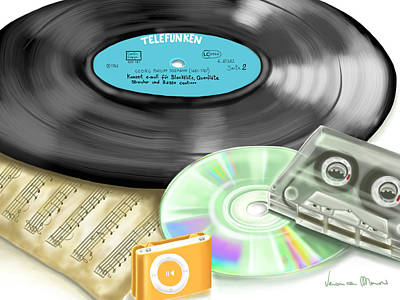 Music Ipod Painting - Music History by Veronica Minozzi