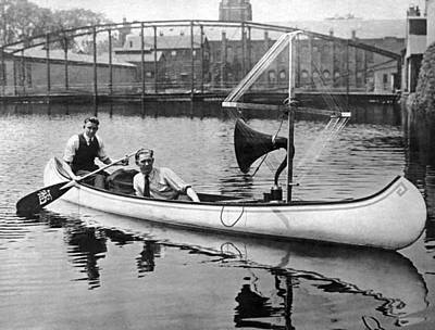 Canoe Photograph - Music In A Canoe by Underwood Archives