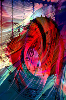 Abstract Movement Digital Art - Music In My Heart by Linda Sannuti