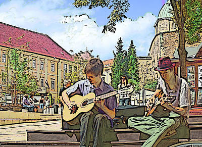 Digital Art - Music In The Square by Ginny Schmidt