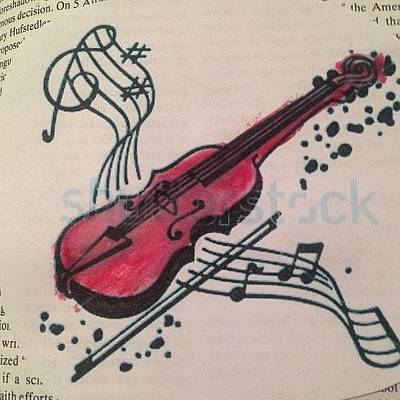 Violin Wall Art - Photograph - #music #instrument #painting #paint by Carlee Ortiz