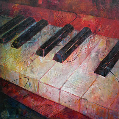 Cello Painting - Music Is The Key - Painting Of A Keyboard by Susanne Clark