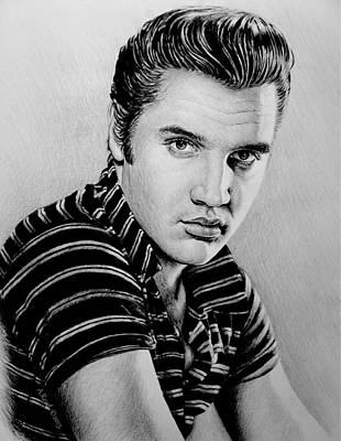 Famous Musician Drawing - Music Legends Elvis by Andrew Read