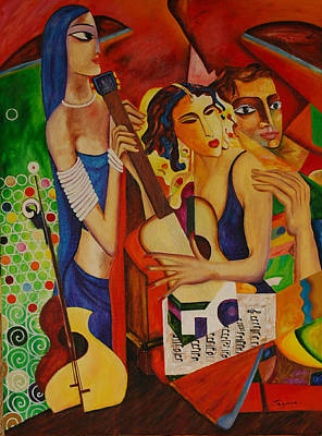 Guitare Painting - Music Lovers by Jean claude Segura