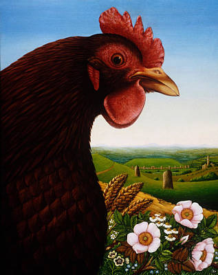Rooster Painting - Music Of A Lost Kingdom Big Chicken by Frances Broomfield