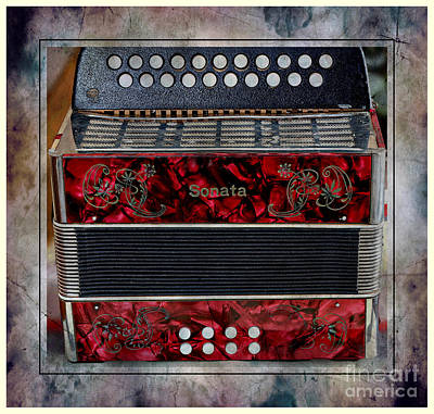 Listening Digital Art - Music - Old Accordion - Media Room by Barbara Griffin