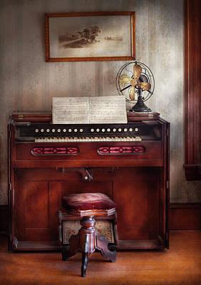 Music - Organist - My Grandmothers Organ Art Print by Mike Savad