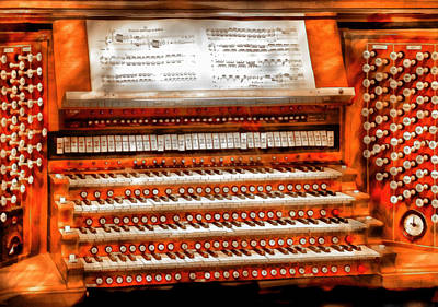 Suburbanscenes Photograph - Music - Organist - The Pipe Organ by Mike Savad