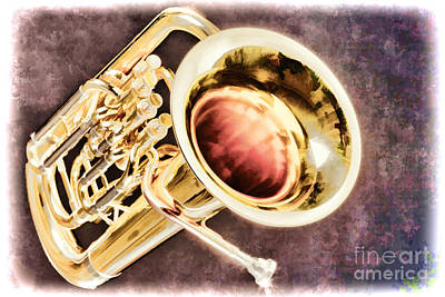Bass Painting - Music Painting Of A Tuba Brass Instrument In Color 3282.02 by M K  Miller