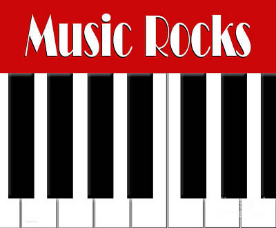 Digital Art - Music Rocks In Red 2 by Andee Design
