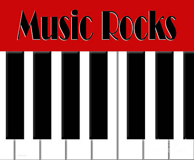 Digital Art - Music Rocks In Red by Andee Design