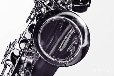 Photograph - Music Saxophone Instrument Bell In Sepia 3267.01 by M K Miller