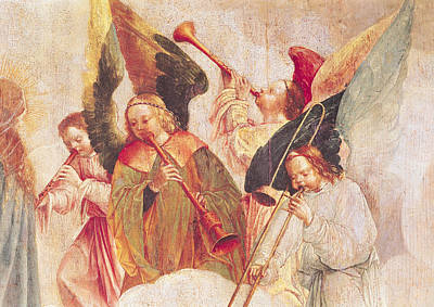 Trombone Painting - Musical Angels, Detail From The Assumption Of The Virgin by Taborda Vlame Frey Carlos