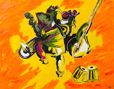 Indian Musical Instrument Painting - Musical Dance by Pooja Subramanya