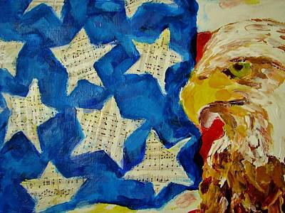 Painting - Musical Flag Stars by Kat Griffin