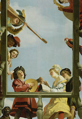 Lute Painting - Musical Group On A Balcony by Gerrit van Honthorst