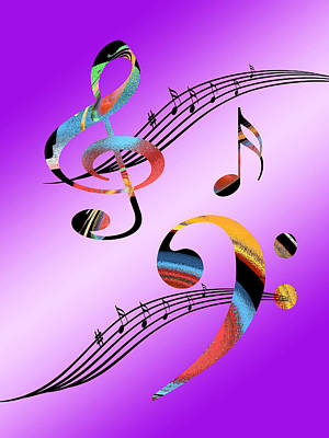 Multicolored Digital Art - Musical Illusion by Gill Billington
